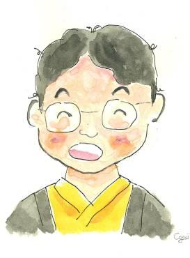 図1.自画像。漢字では「河南堂珍元斎」と書く