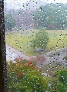 窓の外は雨 雨が降ってる